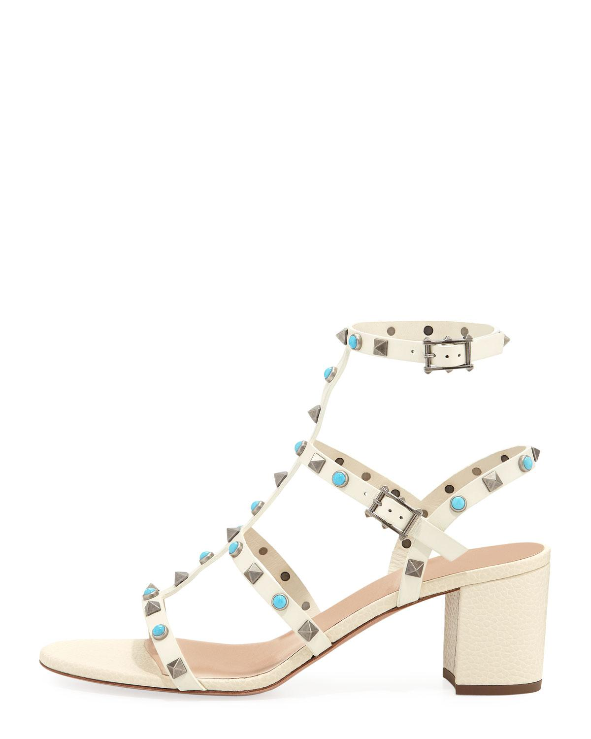 f3742b8564 Lyst - Valentino Multi-studded Leather Sandals in Natural