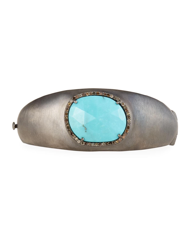 Bavna Tapered Turquoise & Diamond Bangle VTg2sws