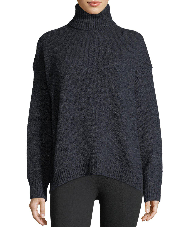Vince Oversized Knit Turtleneck Sweater in Blue | Lyst