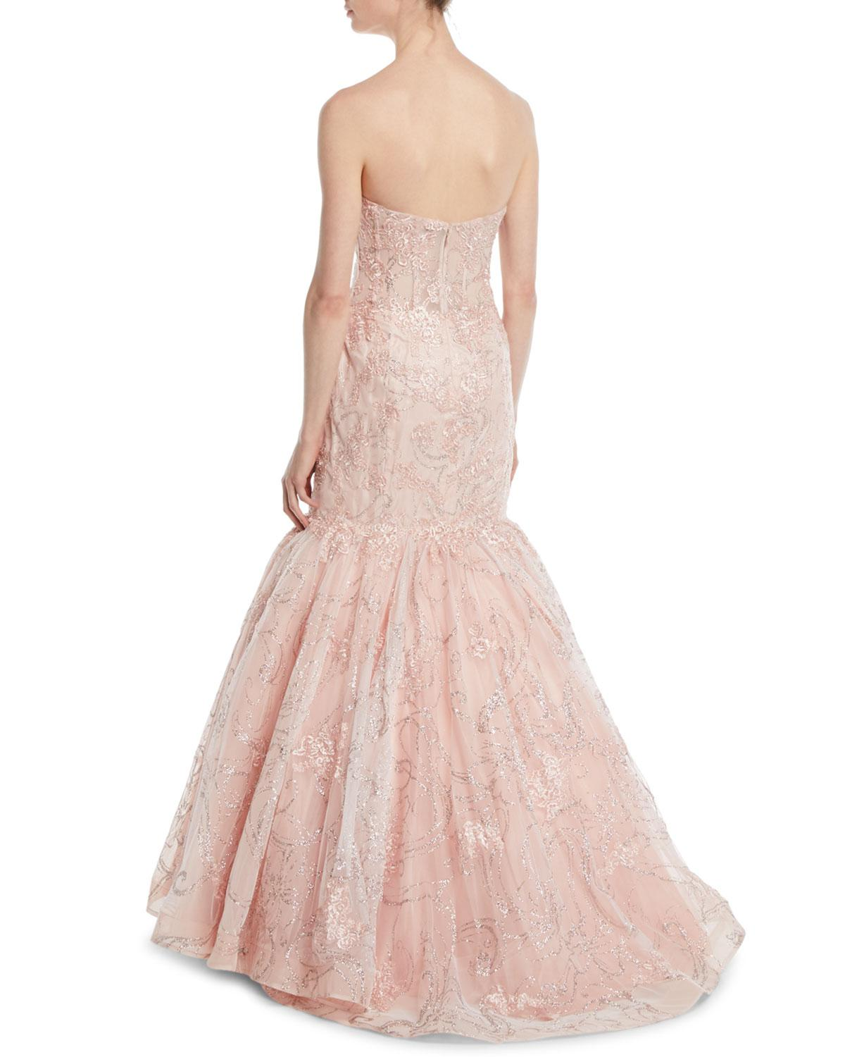 7585ed9eb767 Jovani Shimmer-lace Strapless Mermaid Gown in Pink - Lyst