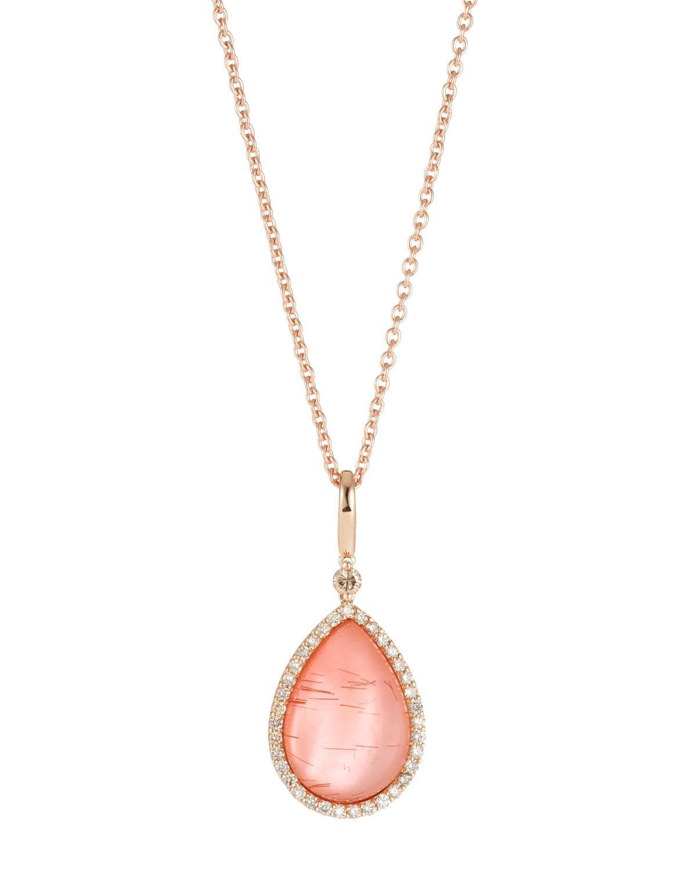 Roberto Coin 18k Amethyst & Diamond Teardrop Pendant Necklace tppo0y