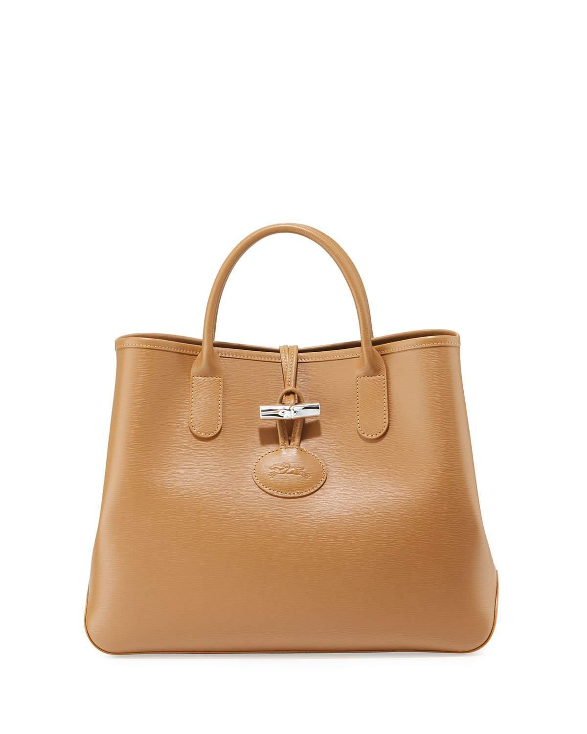 Longchamp Roseau Leather Top-handle Tote Bag in Brown - Lyst 62479d3844059