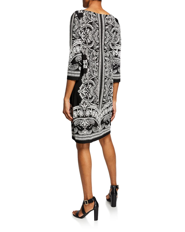 4b7fef2165 Lyst - Neiman Marcus Printed Half-sleeve Shift Dress in Black
