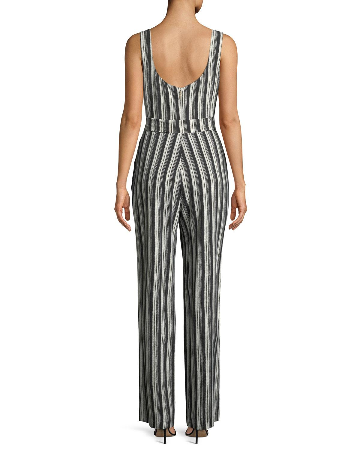 f42eac195790 Lyst - Karl Lagerfeld Striped Belted Jumpsuit in Black