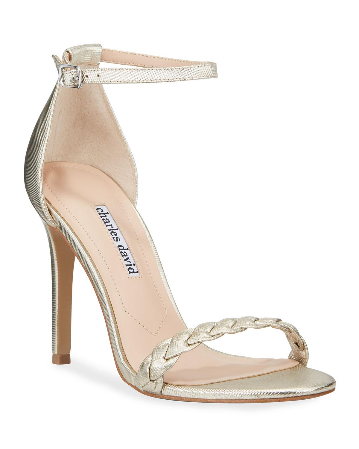 2e48a9189fe1 Charles David - Metallic Woven Leather Ankle-strap Sandals - Lyst. View  fullscreen
