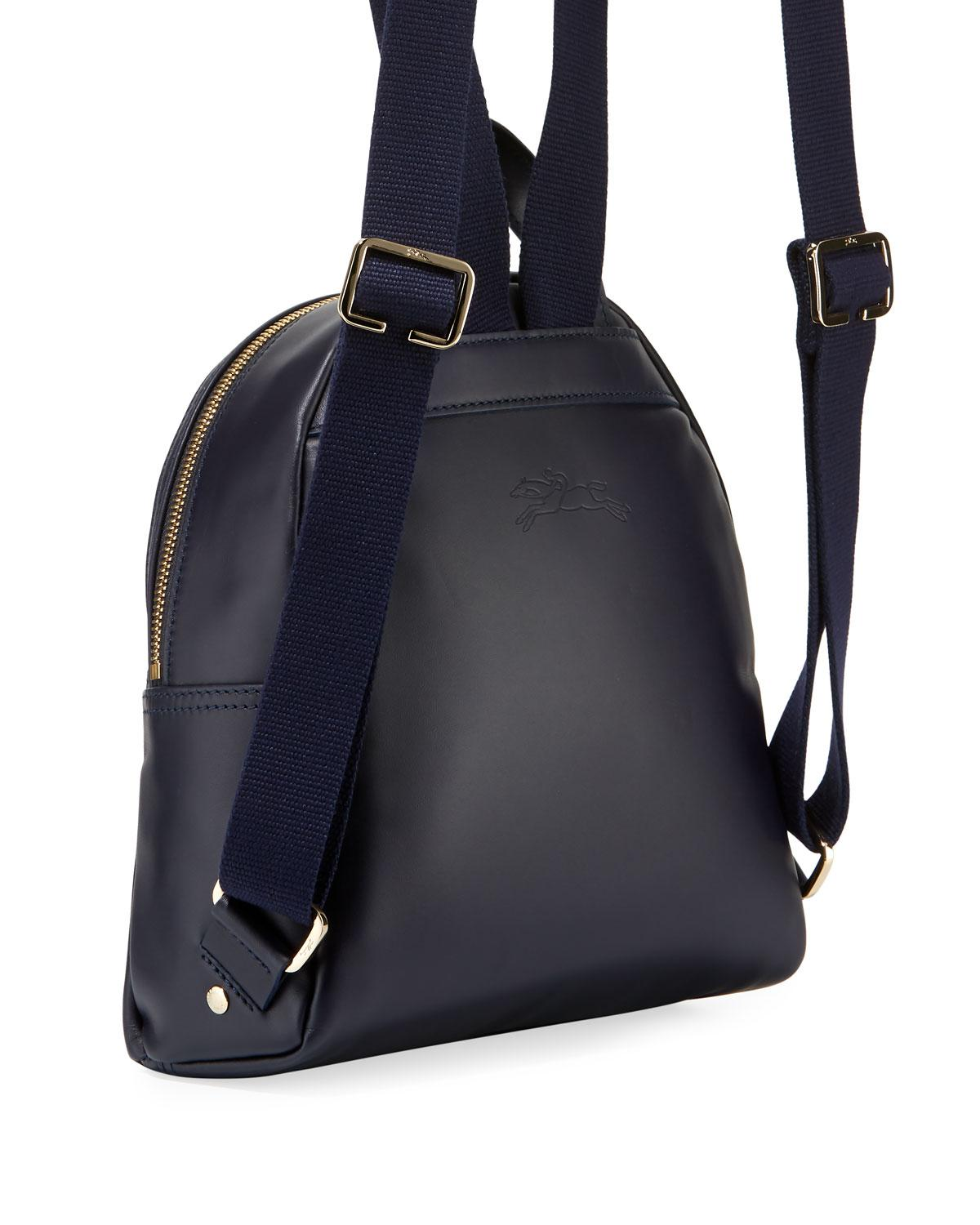 a05b01e036a6 Lyst - Longchamp Logo Leather Backpack in Blue