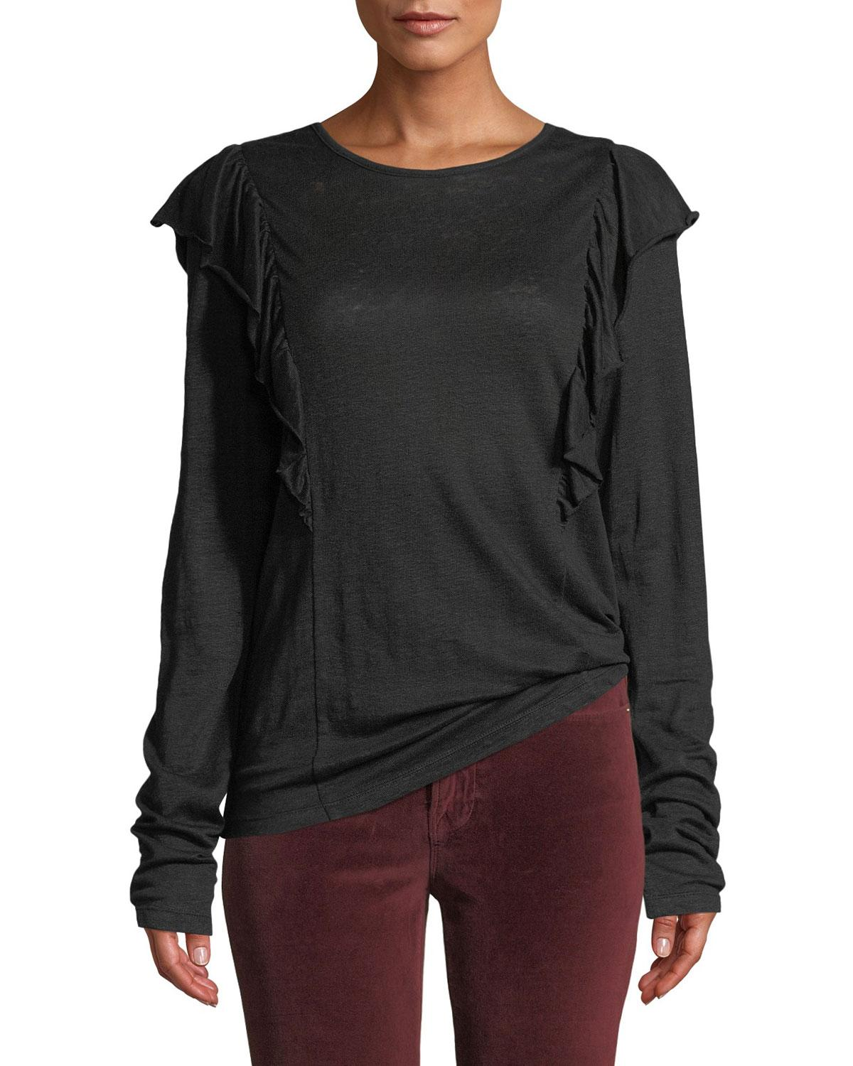 d9cff6012f0353 FRAME - Black Linen Ruffle Long-sleeve Crewneck Top - Lyst. View fullscreen