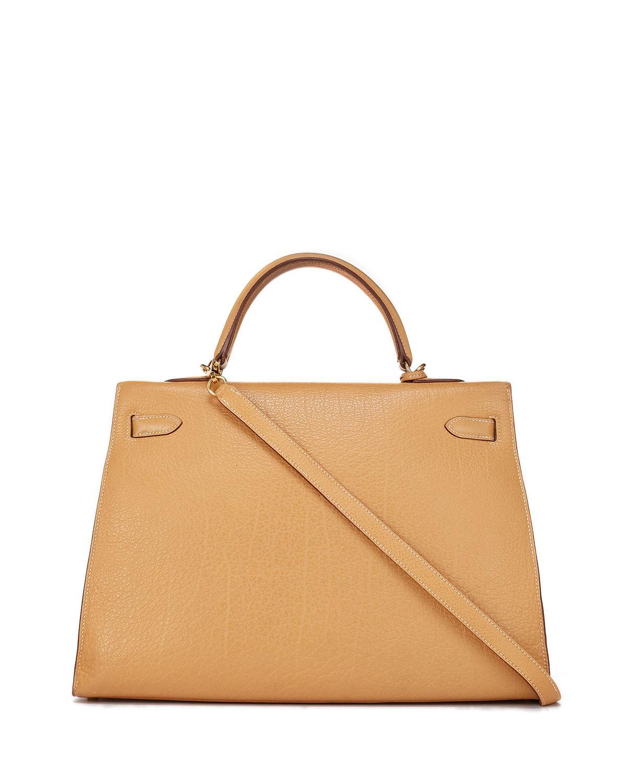 14c61e5f0b4a Lyst - Hermès Vintage Kelly 25 Chevre Satchel Bag in Yellow