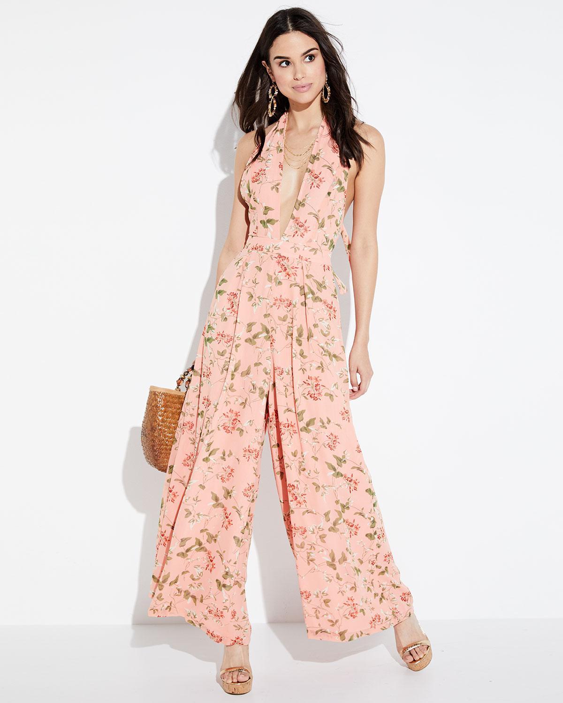 735d208ef28 Lyst - Endless Rose Vine-print Halter Jumpsuit in Pink