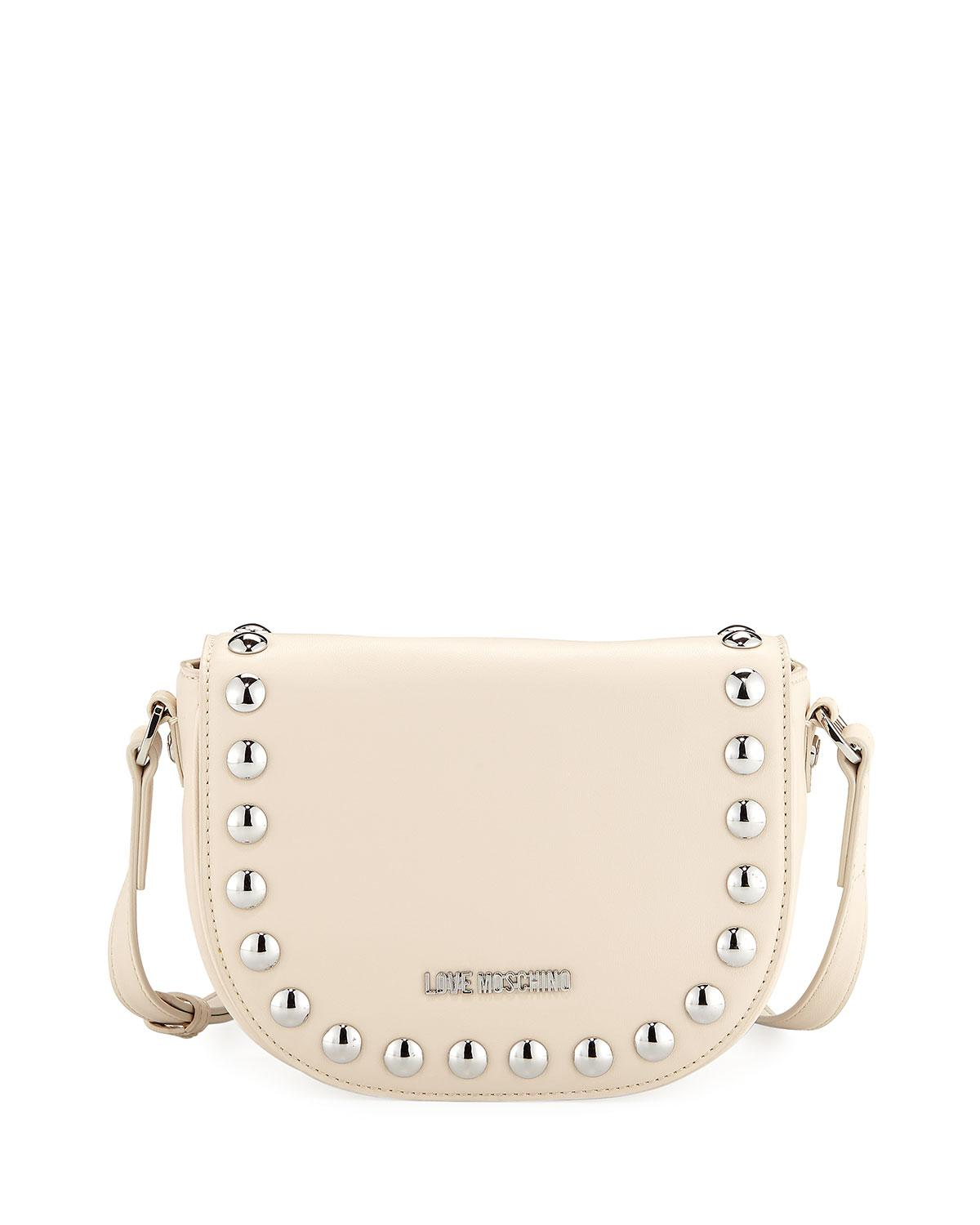 Love Moschino Studded Faux-Leather Crossbody Bag, Ivory