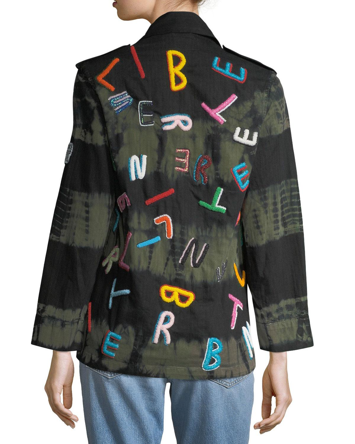 7742a8690b479 Lyst - Libertine Tie-dye Army Jacket With Letter Embroidery - Save 30%