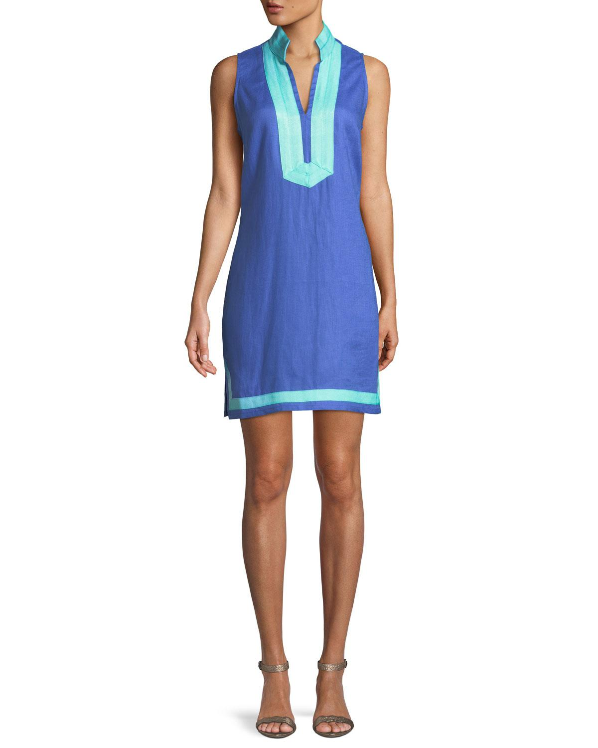 b2b1a31cc4 Lyst - Sail To Sable Sleeveless High-neck Two-tone Linen Tunic Dress ...