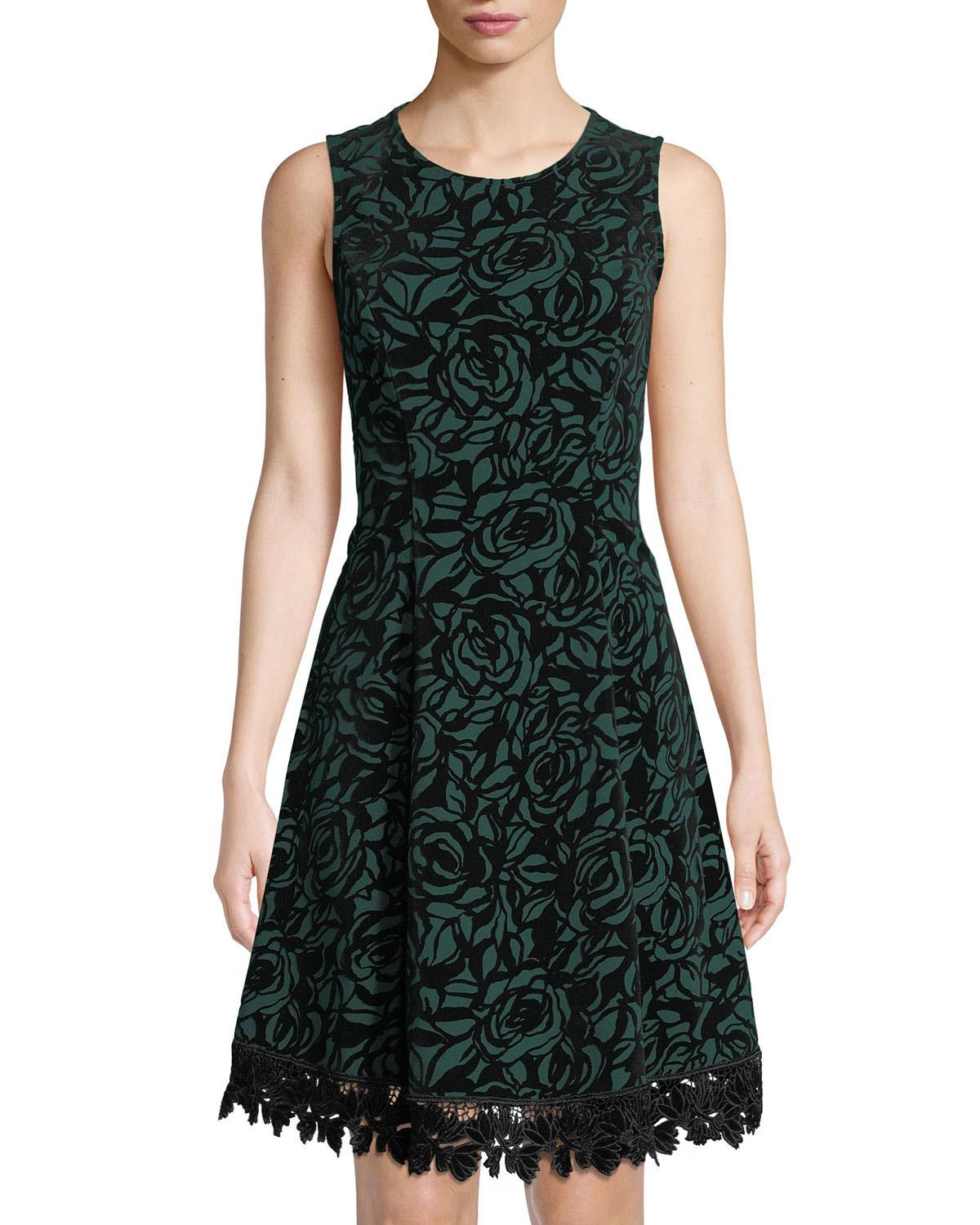 cc80ff7521eb4 Lyst - Donna Ricco Floral Lace-trimmed Flocked Scuba Dress in Green ...