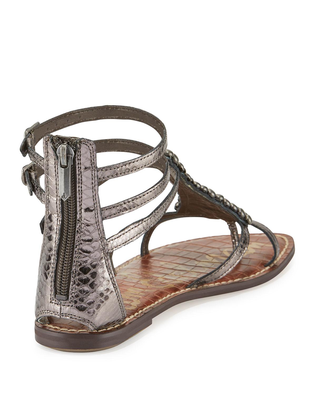 c6fb6fa17e72 Lyst - Sam Edelman Ginger Beaded Gladiator Sandal in Metallic