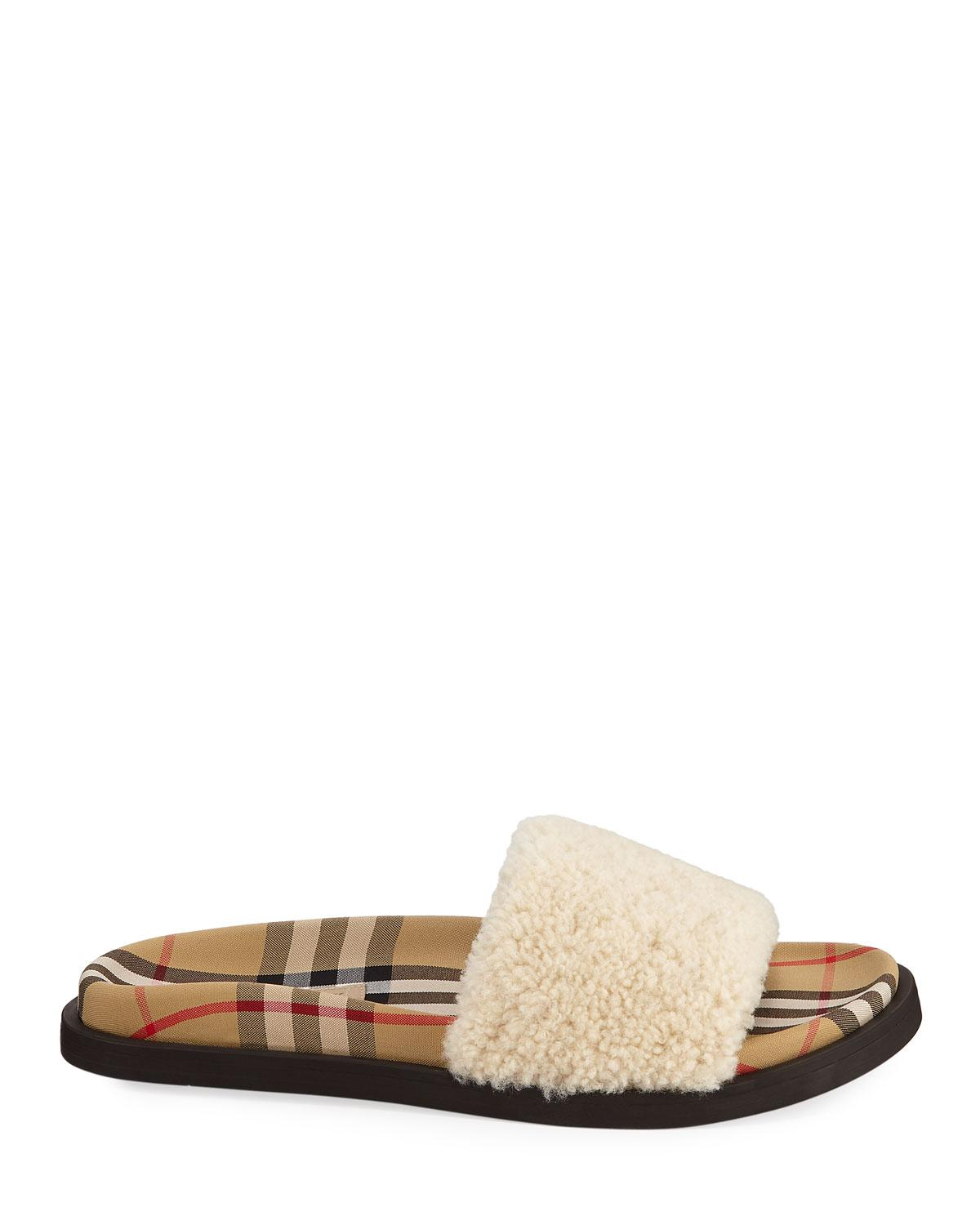 a9e9b985f0d Lyst - Burberry Kencot Slides In Beige Shearling in Natural - Save 18%