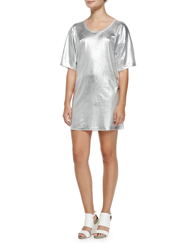 Mcq short sleeve silver foil t shirt dress in metallic lyst for Silver metallic shirt women s