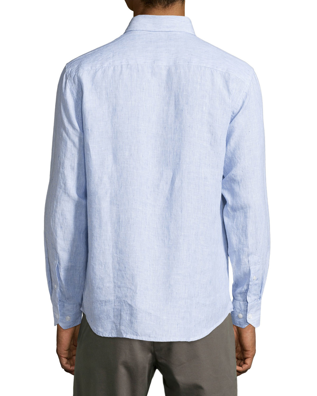neiman linen sleeve striped sport shirt