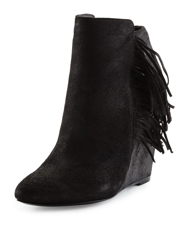 charles david irene fringe leather wedge bootie in black