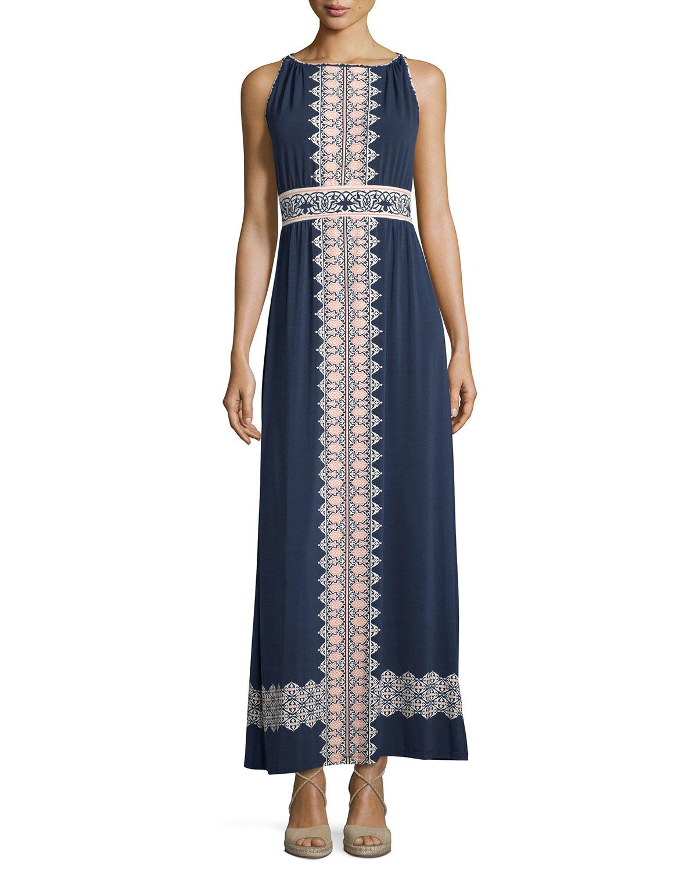 Max Studio Turkish Knot Printed Sleeveless Maxi Dress In