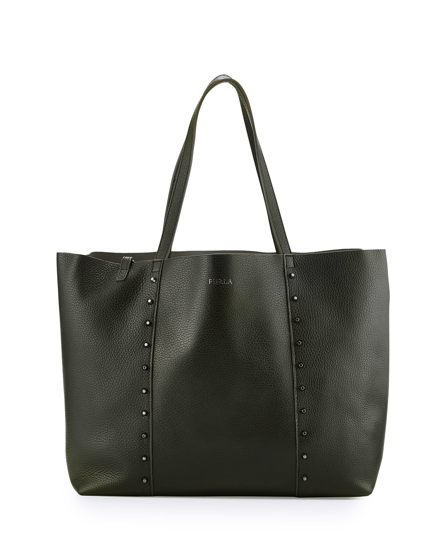 Furla Elle Rock Medium Leather Tote Bag in Black