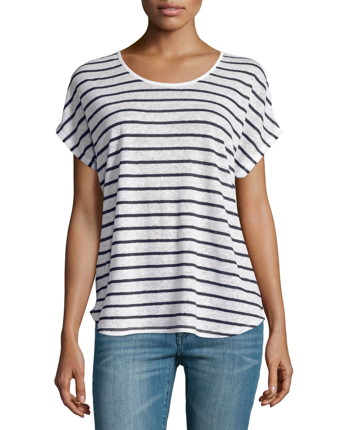 Vince Linen Striped Scoop Neck Tee In Blue Off White Lyst