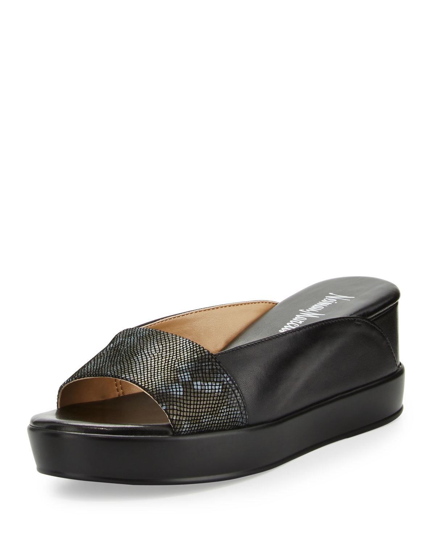 Neiman marcus Pammelah Platform Slide Sandal in Gray   Lyst