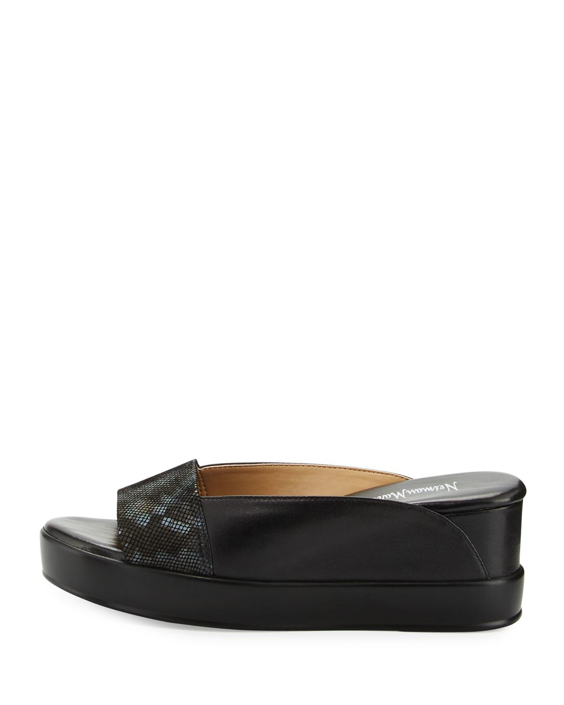 Neiman marcus Pammelah Platform Slide Sandal in Black   Lyst