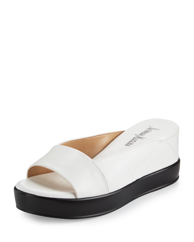 Neiman marcus Pammelah Platform Slide Sandal in White   Lyst