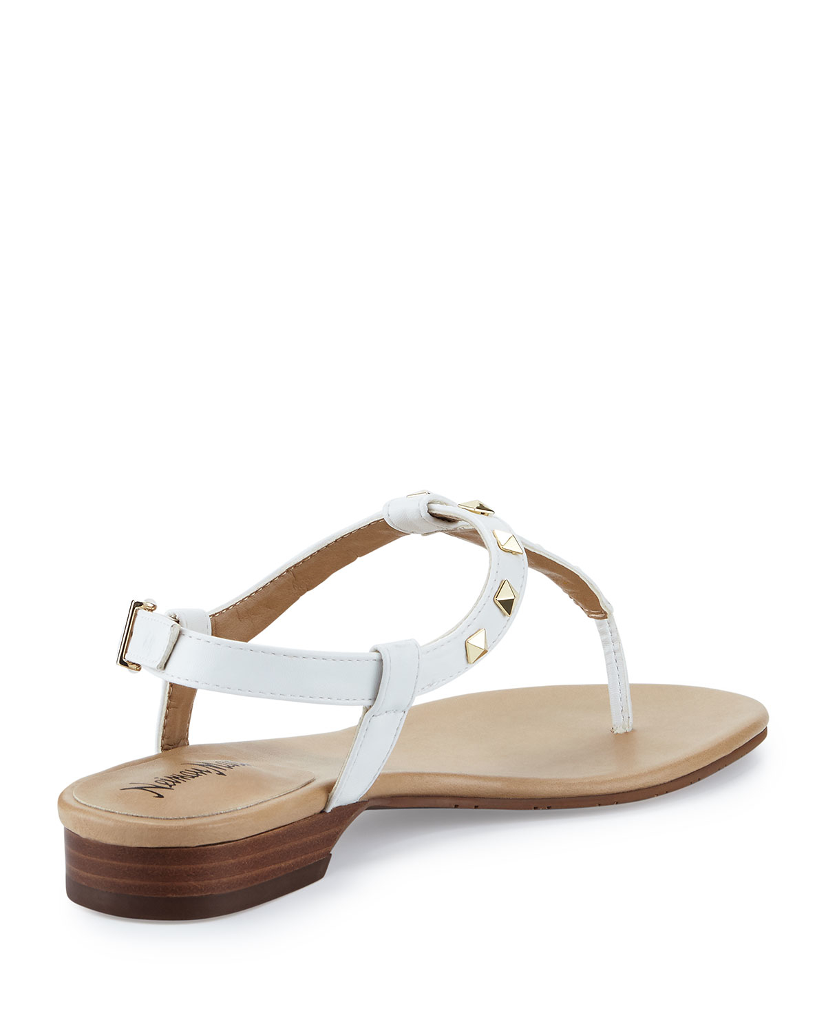 Neiman marcus Breana Studded Leather T-strap Sandal in ...