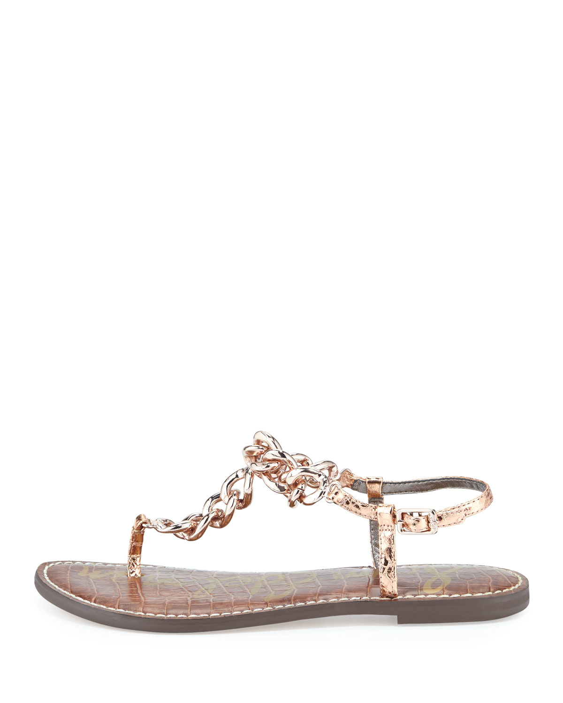 b52517cb78bd3d Lyst - Sam Edelman Grella Chain T-strap Sandal in Metallic