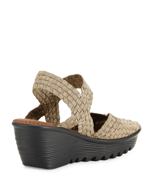 bernie mev fame woven wedge sandal in gray lyst