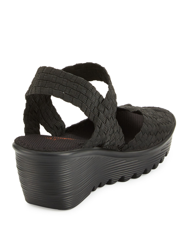 bernie mev fame woven wedge sandal in black lyst