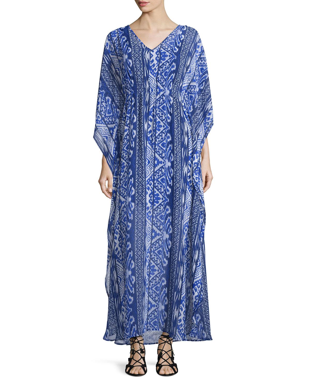 Lyst - Neiman Marcus -print V-neck Maxi Dress in Blue