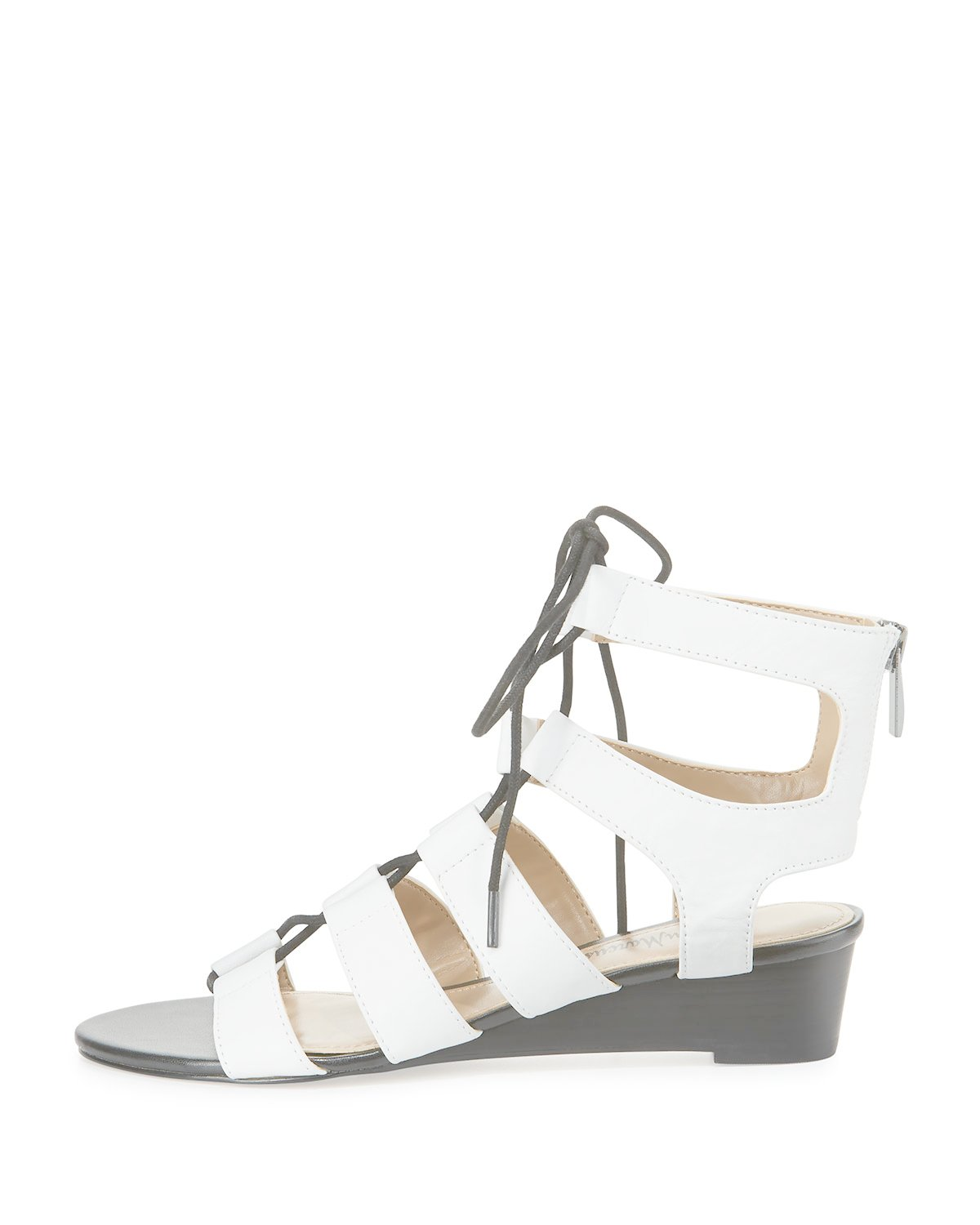 Neiman marcus Wista Leather Lace-up Sandal in White   Lyst