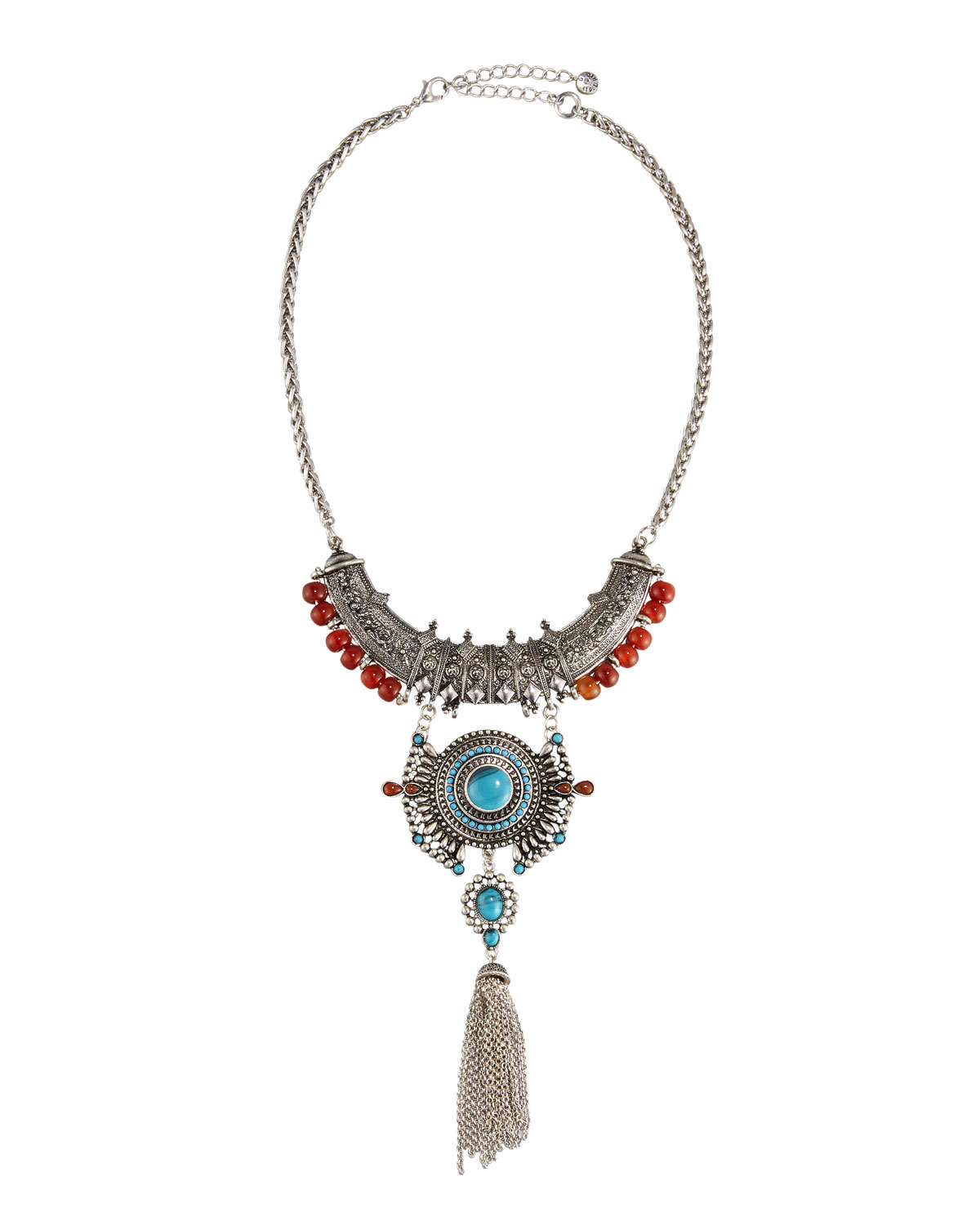 Lyst Lydell Nyc Carved Silvertone Statement Bib Necklace