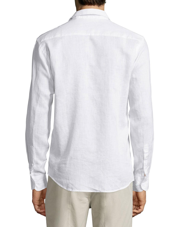 neiman linen sleeve sport shirt in white for