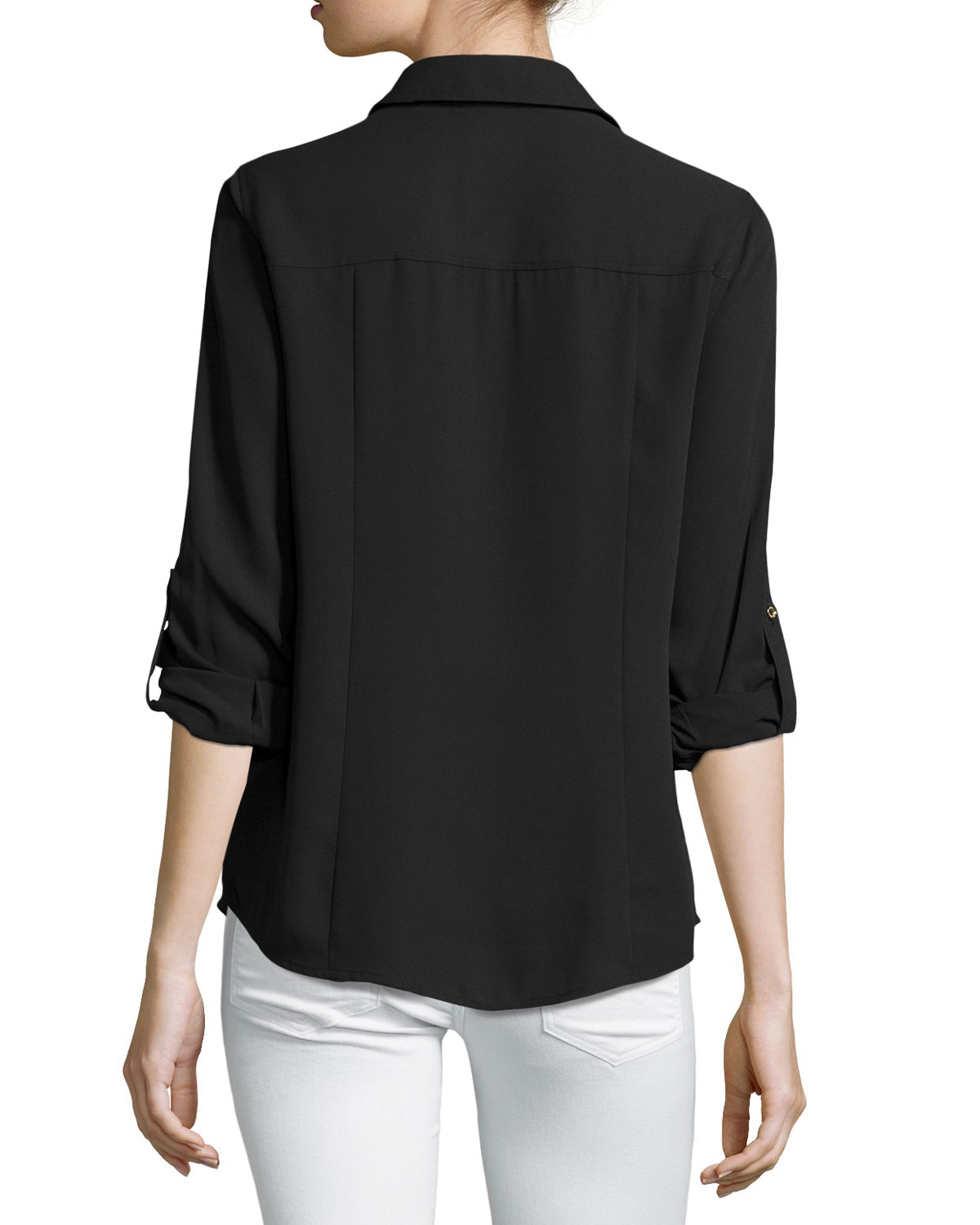 Lyst Michael Michael Kors Dog Tag Zip Front Blouse In White