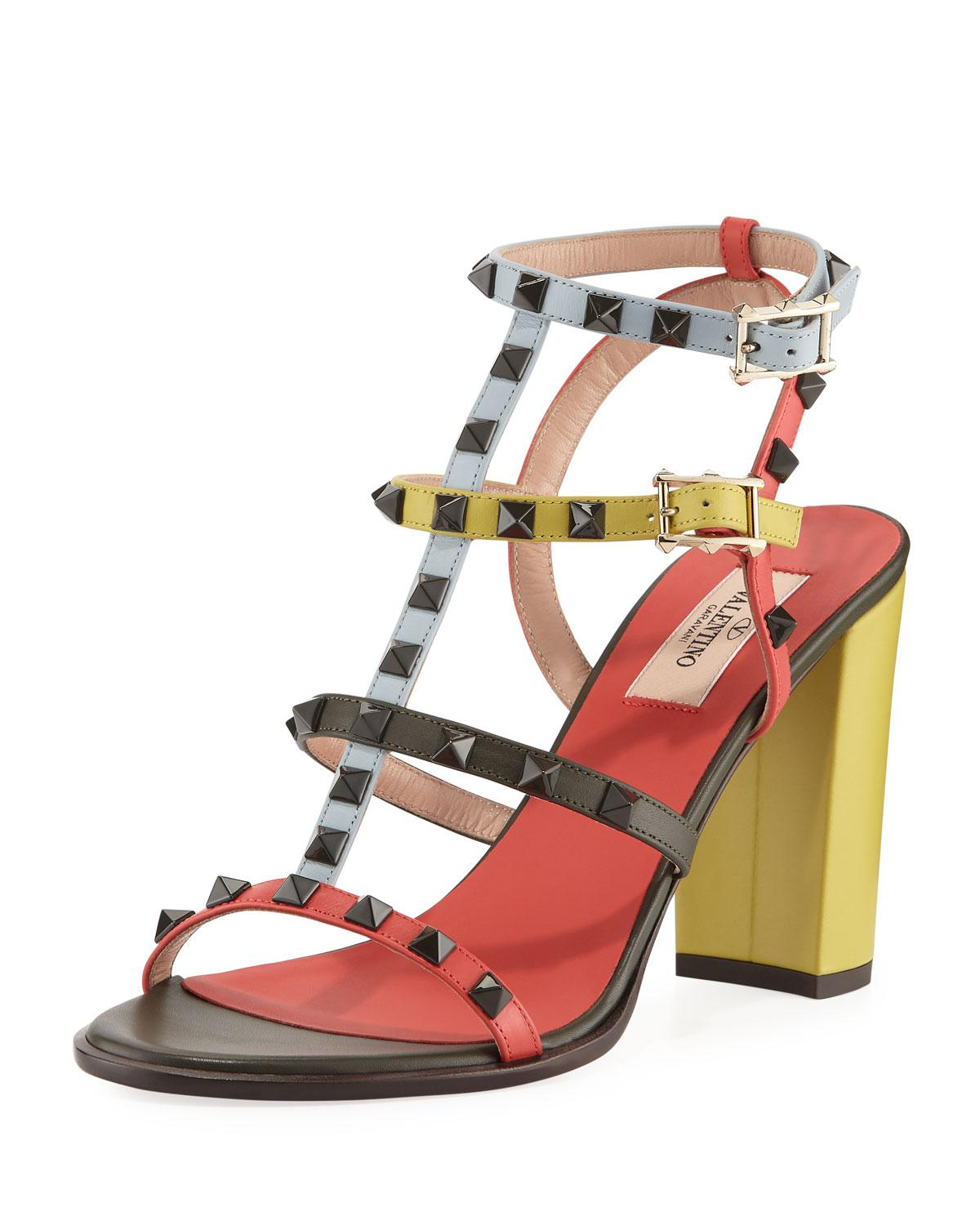 cd7d3949362 Valentino. Women s Rockstud Multicolored Sandals