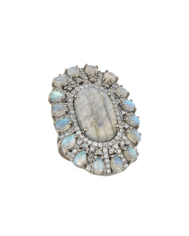 Bavna Labradorite & Diamond Flower Ring, Size 7