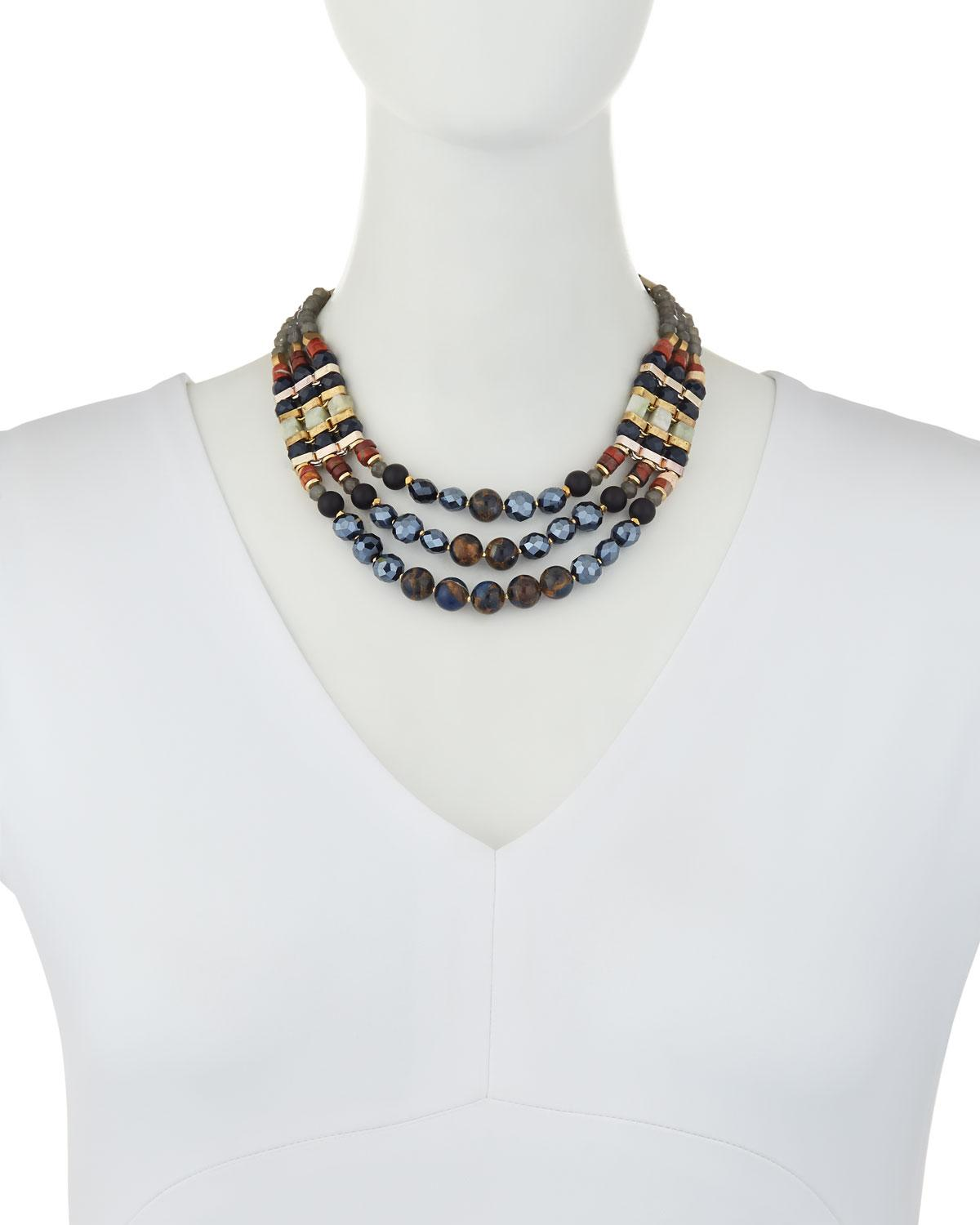 Nakamol Mixed Stone Triple-Layer Statement Necklace a8s7VwM