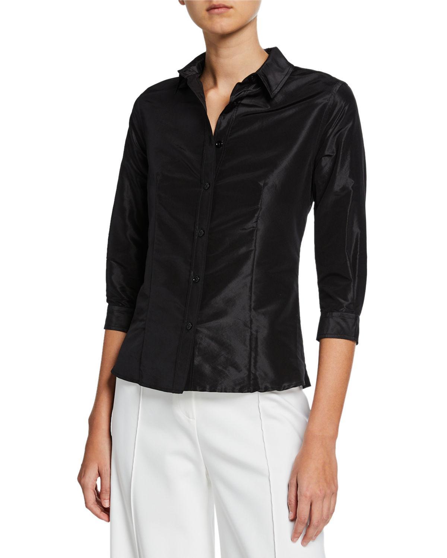 18f6088040057 Lyst - Carolina Herrera Classic 3 4-sleeve Taffeta Blouse in Black