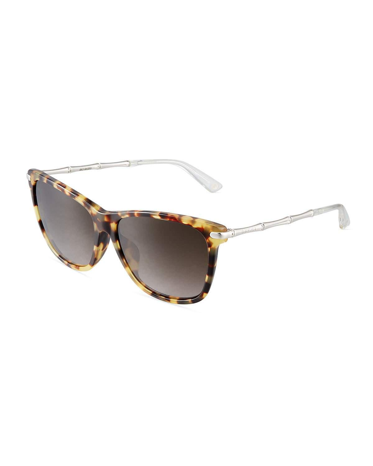e6b39478aca Lyst - Gucci Two-tone Havana Cat-eye Combo Sunglasses in Yellow
