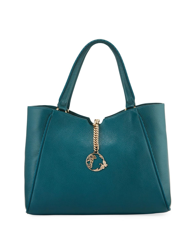 7a48b8ca4c28 Lyst - Versace Stitched Leather Shopper Tote Bag Oil in Blue