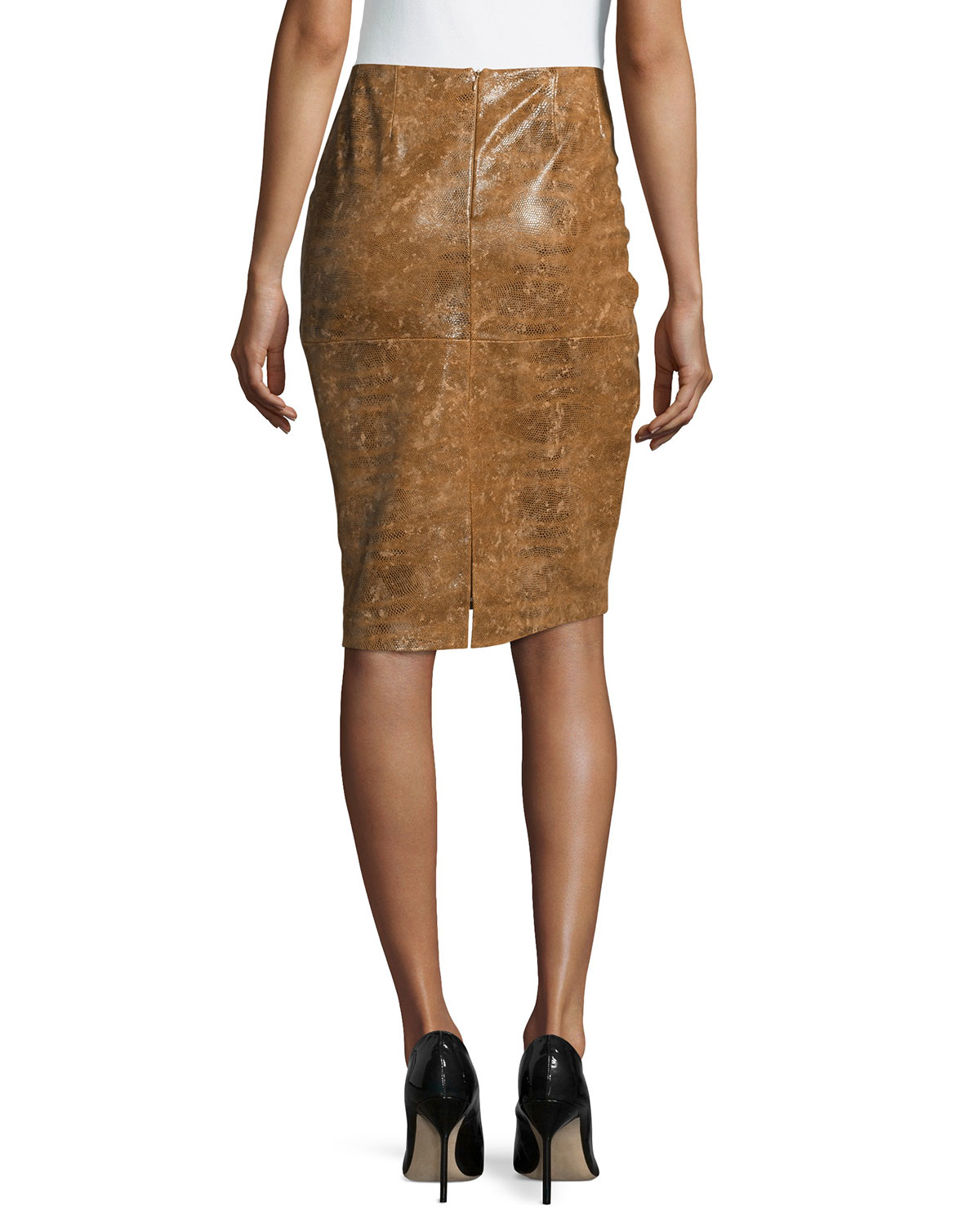 lafayette 148 new york modern slim leather skirt in