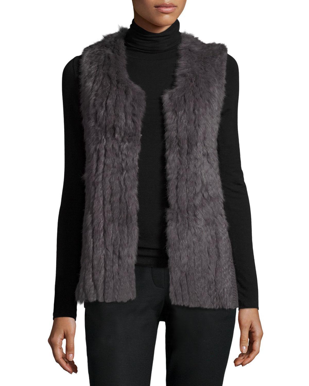 Lyst Metric Knits Rabbit Fur Knit Long Sleeveless Vest