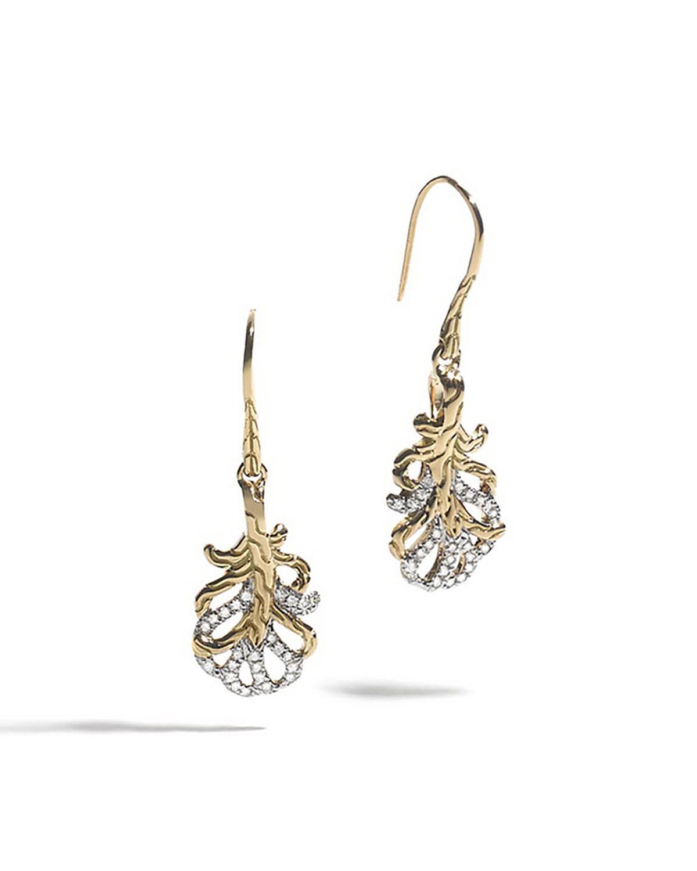 Lyst john hardy 18k feather diamond drop earrings in for John hardy jewelry earrings