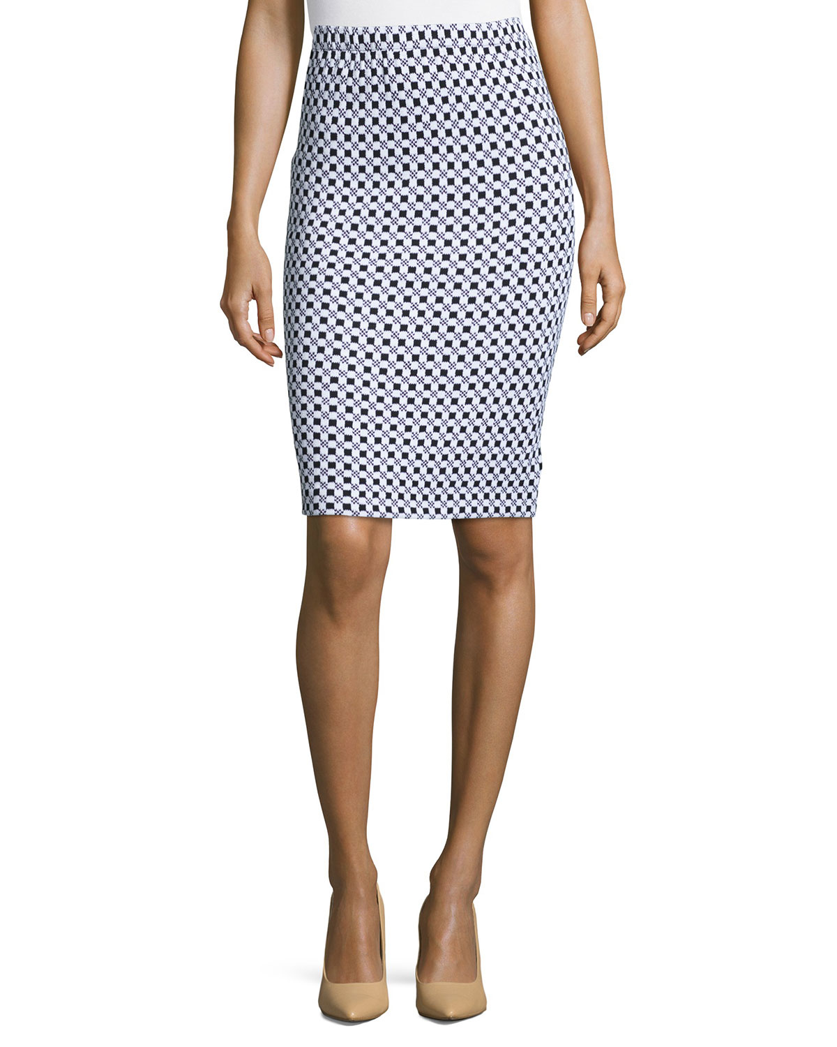 st checkered knit pencil skirt in white bkbw lyst
