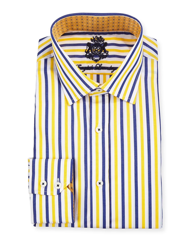 Yellow Striped Dress Shirts Rldm