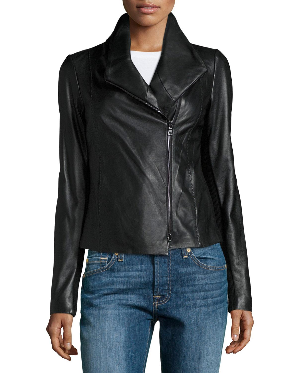 Vince Leather And Knit Scuba Jacket In Black Lyst