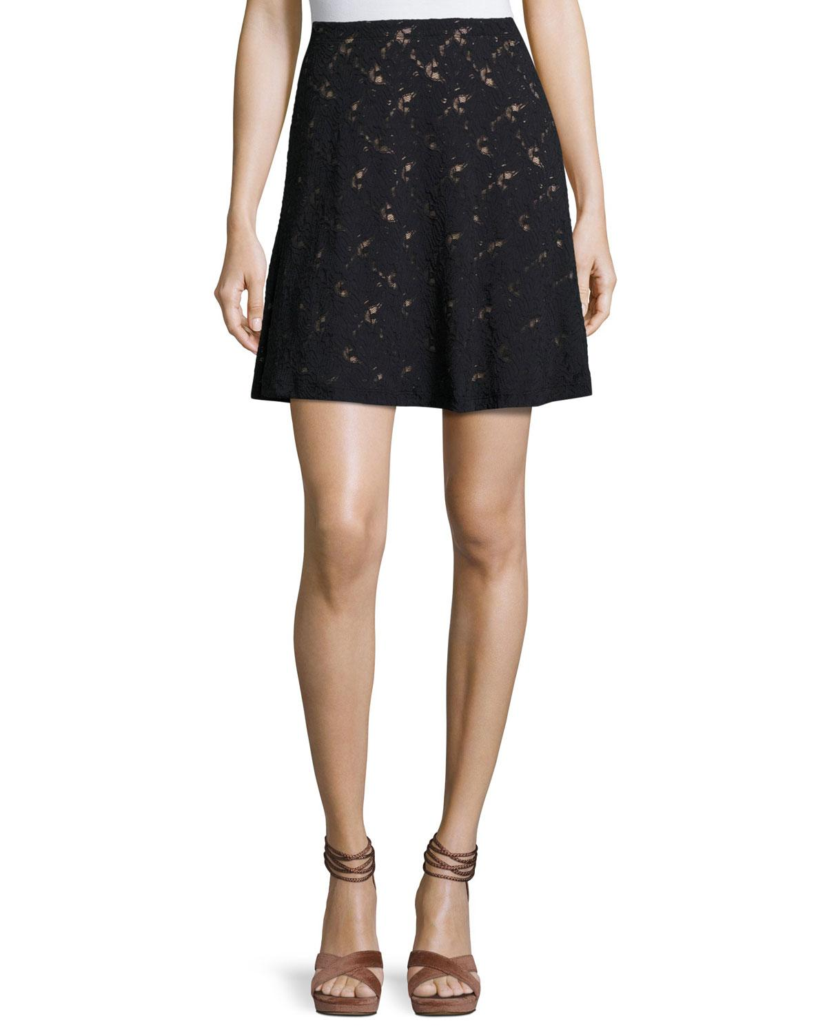 bcbgmaxazria lace overlay a line skirt in black lyst
